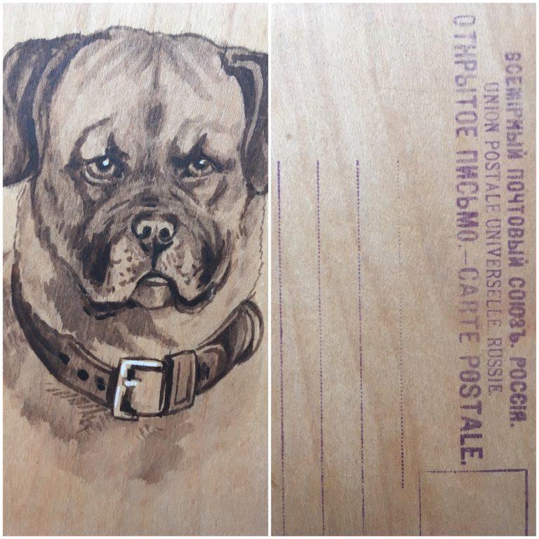 Еще один пример удивительной открытки. Она деревянная! Найдена в районе Олегом Фочкиным в начале 90х.
